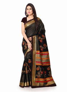 Enchanting Raw Silk Black Print Work Casual Saree