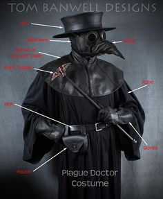 Steampunk Plague Doctor Mask in black Ichabod