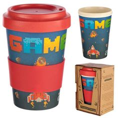 Game Over Design Bambootique Eco Friendly Travel Cup/Mug – Buy UK Stores Reusable Cup, Luggage Brands, Sustainable Gifts, Picnic Set, Travel Cup, Beach Design, Cat Mug, Cold Meals, Stores