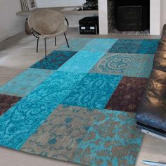 This Louis De Poortere Vintage Multi Turquoise designer rug from De Poortere Decor comes in contrasting tones of Blue, Grey and Brown that blend together in harmony to craft the perfect natural earth tone setting for your living spaces. This flat weave rug is ideal for high traffic areas due to its dark Colour motifs that can be maintained with extreme ease. Turquoise Room, Bleu Turquoise, Aqua, Patchwork Rugs, Patchwork Designs, Lounge Design, Blue Bedding, Curtain Designs, Modern Rugs