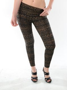 Aztec hacci print leggings in olive green