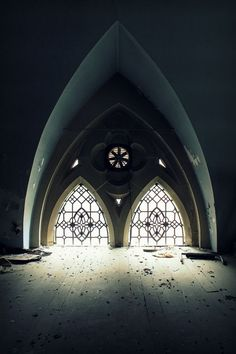 gothic windows of a church abandoned church. finestre gotiche a sesto acuto di una chiesa abbandonata. #windowinteriors (Architecture~Elements/Windows)