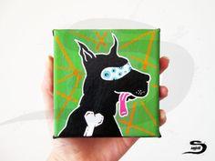 Black Dog Silhouette  Original painting  by SnagglebitInkArt