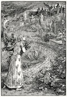 Until she reached the churchyard.    Helen Stratton, from The fairy tales of Hans Christian Andersen, Philadelphia, circa 1899.    (Source: archive.org)