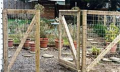 fence gate - use pallets & chicken wire. This could work for a temporary fence to keep my chickens from my seedlings.