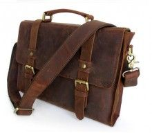 Crazy Horse Leather Men's Compact Brown Messenger Bag $100 I don't care of its men's I want it
