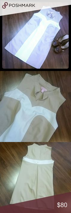 Lilly Pulitzer Tan/White Sleeveless Shift Dress Loose fit. Pockets. Measures 35 inches at the bust, 32 inches long. Very good condition. Lilly Pulitzer Dresses Mini
