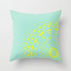 Mint & Yellow Mandala Throw Pillow Cover mandala throw by lake1221