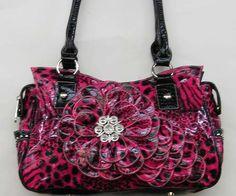 big pink purse with flower | NEW PINK BLACK ZEBRA WESTERN FLOWER RHINESTONE PURSE WALLET - Handbags ...