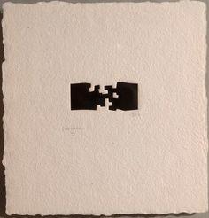 Eduardo Chillida (1924-2002) Guggenheim II, (1980). Woodcut. Image size: 3cm H x 9cm W. Sheet size: 27cm H x 28cm W. Edition of 50 copies.