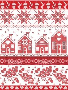 Scandinavian and Norwegian Christmas folk inspired festive autumn and winter seamless pattern in cross stitch with acorn, oak leaf, gingerbread house, snow snowflakes and ornaments in red and white royalty-free stock vector art Xmas Cross Stitch, Cross Stitch Borders, Cross Stitch Designs, Cross Stitching, Cross Stitch Embroidery, Cross Stitch Patterns, Motif Fair Isle, Fair Isle Chart, Norwegian Knitting Designs