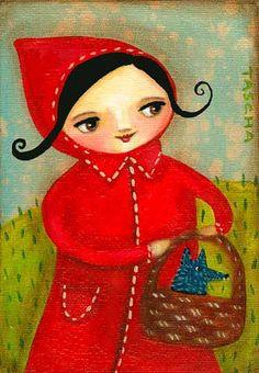 Caputxeta Vermella retratada: il·lustracions / Caperucita Roja retratada: ilustraciones / Portraits of Little Red Riding Hood: Artwork Little Red Ridding Hood, Red Riding Hood, Charles Perrault, Serpentina, Dog Pajamas, Simply Red, Fairytale Art, Red Hood, Lady In Red