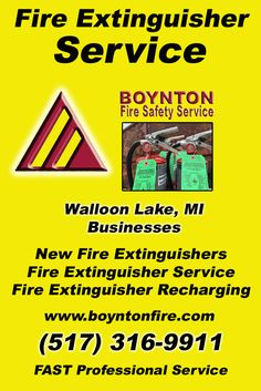 Fire Extinguisher Service Walloon Lake, MI (517) 316-9911 Local Michigan Businesses Discover the Complete Fire Protection Source.  We're Boynton Fire Safety Service.. Call us today!