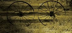 Historic Wagon Wheels from the Chirnside Shearing Shed at Werribee Park Open Range Zoo