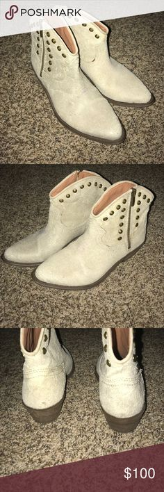 Lucky brand stud boots! Beautiful tan leather boots! Like new condition. Worn once. Minor marks are pictured. Bottoms are still pretty much perfect. Still has sockets. Super cute. See pictures. Lucky Brand Shoes Ankle Boots & Booties
