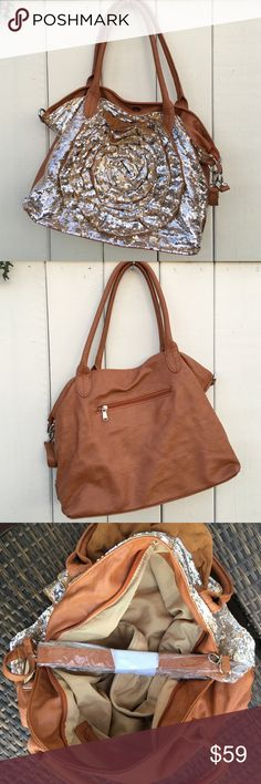 Gorgeous soft camel leather silver sequin bag 🌟 Gorgeous buttery soft camel leather bag with silver sequins in rose design  🌟 🌹 never been used or worn. Detachable leather shoulder strap (in paper in photos). Very spacious inferior with many pockets. Bags Satchels