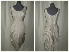 Vintage 50s 60s Shannon Rodgers Beige Silk Bustle Wiggle Cocktail Party Dress Small