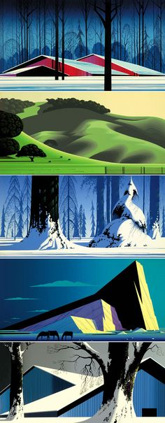 Eyvind Earle. 1950s Disney background artist and painter... http://www.gallery21.com
