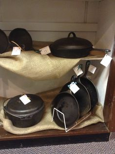 Cast iron pans! Some of our favorite antique items! Great for cooking with!