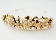 Gold Mocca Wedding Tiara Bridal Crown by jewellerymadebyme on Etsy, £74.99