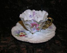 Bone China Demitasse Cup and Saucer with Gold by KathatKreations