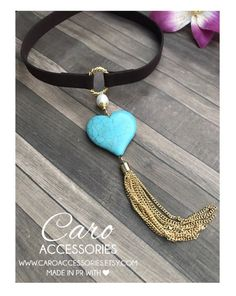 Collar corazon turquesa by CaroAccessories on Etsy