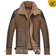 Brown Sheepskin Shearling Bomber Jacket CW861250 Brown sheepskin B-3 bomber jacket for men, crafted from the best quality imported sheepskin leather with lamb fur lining, detailed with buckled collar and zip closure, this sheepskin jacket is the winner in both warmth and enduring style.  www.cwmalls.com PayPal Available (Price: $1557.89) Email:sales@cwmalls.com