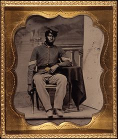Portrait of African American Civil War soldier, c. 1863, Chicago, Illinois.