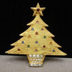 Christmas Xmas Tree Brooch Pin Vintage Multi Colored Rhinestones   eBay