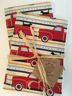 Antique red truck burp cloth set cloth diaper by GoodnessGrayson