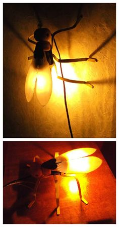 This is my third firefly lamp. Mixed media: recycled wood (shovel handle :) ), plastic (empty antifreeze jerrycan), recycled sheet metal, electric parts. Hope you like it :)   #Lamp, #Light, #Metal, #Plastic, #Upcycled