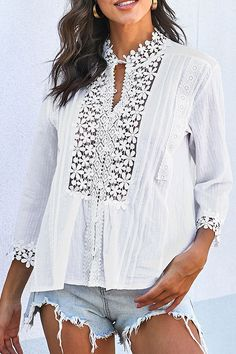 Elegant Floral Lace Paneled Buttoned 3/4 Sleeves Pleated Blouse - Shopingnova Floral Blouse, Floral Lace, Floral Tops, Thing 1, The Office Shirts, Lace Button, Types Of Sleeves, Shirt Blouses, White Lace