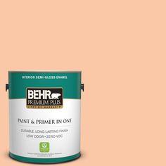 BEHR Premium Plus 1-gal. #250C-3 Fresco Cream Zero VOC Semi-Gloss Enamel Interior Paint