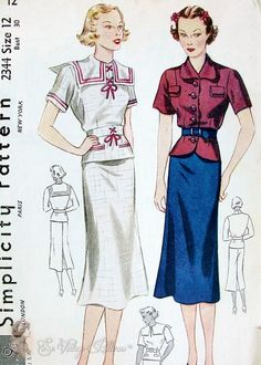 1930s Silm 2 PC Dress Pattern 2 Over Blouse Styles Includes Fab Sailor Nautical Design Simplicity 2344 FF Bust 30 ~ obsessed with Nautical styles, especially the vintage ones