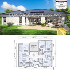 Bungalow House Plans with One Story Modern European Architecture Design Ideas - Bungalow House Plans with One Level Modern Contemporary European Style Architecture Design Floor Pl - Bungalow Haus Design, Modern Bungalow House, Bungalow House Plans, Contemporary House Plans, Modern House Design, Modern Contemporary, Plans Architecture, Architecture Design, Pool House Plans