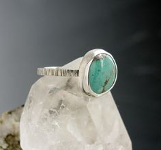 Sterling Silver Turquoise Ring  Hammered silver by AmityJewelry