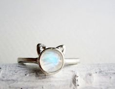 White Cat Ring Rainbow Moonstone and Sterling by EveryBearJewel, $63.00