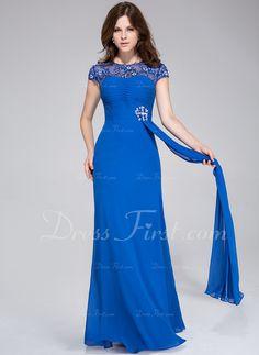 Corte A/Princesa Escote redondo Vestido Chifón Tul Vestido de noche con Volantes Encaje Bordado (008025469)