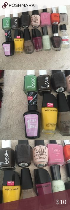 Nail Polish Bundle Includes Essie Nail Polishes, OPI, Pure Ice, Wet n Wild, Sinful Colors, ELF, Trust Fund Beauty, and Sally Hansen! Used once or never: wnw don't be jelly, SC nirvana, OPI I brake for manicures, wnw d'oh, wnw grape minds think alike, wnw under your spell. Used two to five times: Essie little brown dress, TFB I'm a big deal, Essie mojito, elf matte topcoat, SH hardener. Used more than five times: SH mint sorbet, poi bubble bath, PI hot tamale. Comment if you have a…