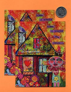 HOME IS WHERE The Heart Is Mixed Media Art Magnet by JoannaGrantArt on Etsy