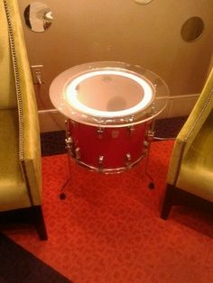 baby boy drummer bedding | Make a table out of a drum. Cool idea for basement or boys room.