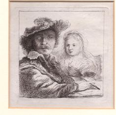 Rembrandt Self Portrait with Saskia etching by Charles Hodges #Realism