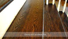 Ebony and Jacobean mix. Thinking of Staining Your Hardwood Floors a Dark Color? Staining Wood Floors, Modern Wood Floors, Types Of Wood Flooring, Grey Wood Floors, Oak Laminate Flooring, Light Hardwood Floors, Dark Wood Stain, Flooring Ideas, Dark Flooring