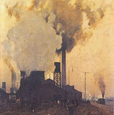 Iron and Steel Mill : Eugen Bracht : Circa 1907 Art Print Suitable for Framing Urban Landscape, Landscape Art, Landscape Paintings, Landscape Design, Landscapes, Art Prints For Sale, Fine Art Prints, Industrial Paintings, Industrial Artwork
