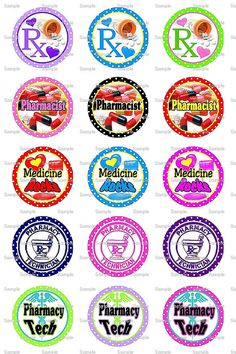 Pharmacy Tech Bottle Cap Images 4x6 Bottlecap by designsbyPM