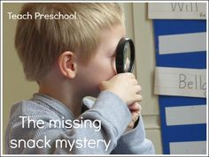 Preschoolers have a natural curiosity. They love to investigate and make new discoveries. So when our snack came up missing, I knew just who to call on to help us solve the mystery. To begin our fun-filled day of mysteries, I filled Prek Literacy, Preschool Education, Toddler Preschool, Preschool Activities, Teach Preschool, Police Activities, Spy Kids, Math For Kids, Detective Theme