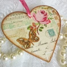 Купить Сердце - валентинка в винтажном стиле, декупаж. - золотой, валентинка, валентинка сердце, сердце, сердечко