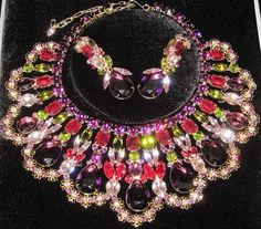 DiMARTINO ORIGINALS Huge Colorful Rhinestone Bib Necklace Earring Set