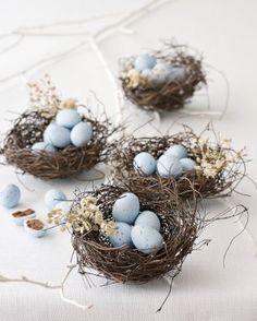 Eggs in nests. Cute idea for table decor! Z