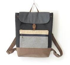 Unisex, GrayNavy Canvas Backpack / Laptop bag / leather closure / Front zipper pocket, Unique Design of BagyBag. $95.70, via Etsy.